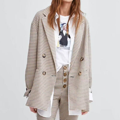 New Fashion Notched Women Spring Plaid Blazer Double Breasted Long Sleeve Female Outerwear Casual Button Pockets Tops Gift
