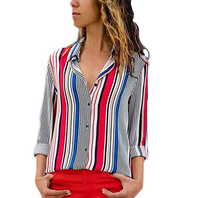 New Fashion Striped Women V-Neck Blouse Shirt Cuffed Long Sleeve Female Tee Tops Women Button Up Shirt Blusas Feminine Blouses