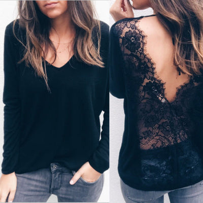 New Fashion Women Long Sleeve Shirt Casual Lace Blouse Loose Tops Shirt Womens Ladies Lace Brief Blouses Top Female