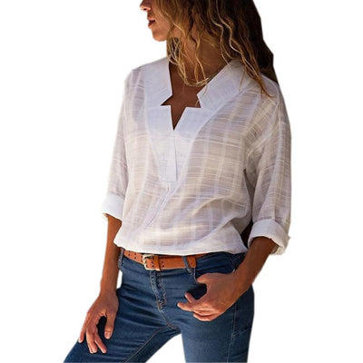 New Fashion Women Star V-Neck Blouse Shirt Long Sleeve Female Sexy Tee Tops Women Cotton Linen Shirt Blusas Feminine Blouses