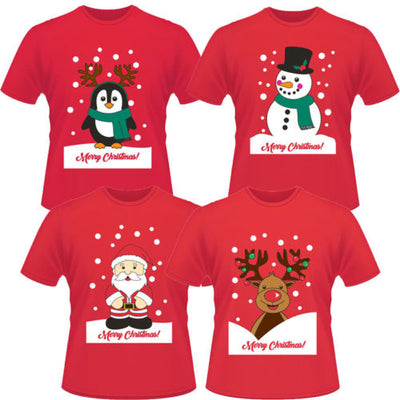 New Funny Unisex Xmas Christmas Women Mens Cotton Xmas Print T shirt Tees Tops Adult Mens Womens Santa Claus Top T-Shirt Clothes