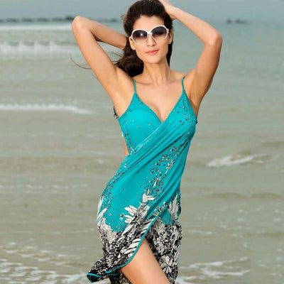 New Hot Summer Dress Bohemia Beach Dress Sarong Fashion Women Strap Backless Sexy V-neck Dress M-XXL
