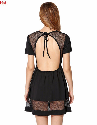 New Sexy Halter Backless Dress Women Short Sleeve O-Neck Hight Waist Dress Mesh Splicing Casual Mini Dress Summer Style YC000527