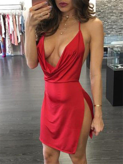New Sexy Women Summer Dress Deep V Neck Loose Vintage Sleeveless Evening Party Mini Dress New Hot Sexy Dress