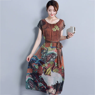 New Spring Summer Short Sleeve O-Neck Silk Dress Slim Mid-Calf Dresses Plus Size 4XL Vintage Floral Print Dress Women RE2312