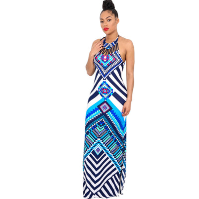 New Summer Plaid Maxi Dress Women Dashiki Sexy Backless Print Long African Dress Party Bodycon Bohemian Beach Dresses