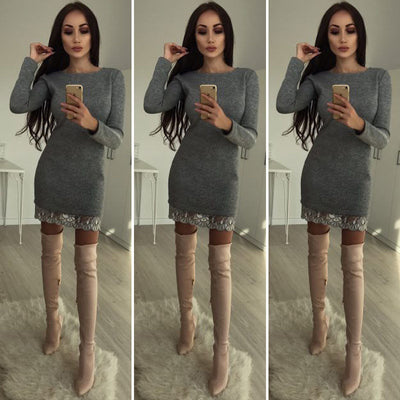New Trendy Women dress Autumn round neck lace solid Long Sleeve casual Bodycon Polyester Mini Dresses one pieces