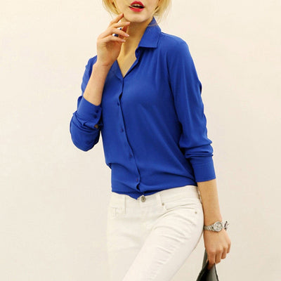 New Trendy Women Long Sleeve Loose Chiffon Shirt Casual Blouse Tee Shirt Tops