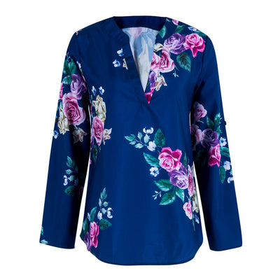 New Women 3/4 Sleeve V neck Floral Blouses Tops Ladies Summer Casual Blouse Shirts