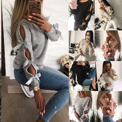 New Women Bow Hollow out Longsleeve Warm Sweater Pullover Knitting Bow Loose O-Neck Tops Blouse Knitwear