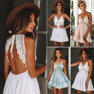 New Women Dresses Summer Lace Sexy Club Spaghetti Strap Backless Vintage Party Dress Elegant Beach Sundress Bohemian Dress