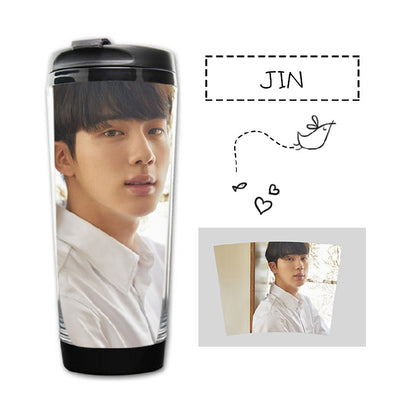 New kpop BTS Bangtan Boys Group official The Same Summer gradient frosted glass bottle freshness letter Lemon cup