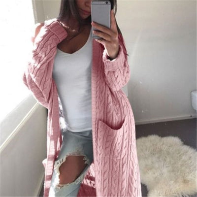 New long cardigan knitted sweater Autumn Winter women open stitch Vogue female long sleeve pockets woolen sweaters ladies cloth