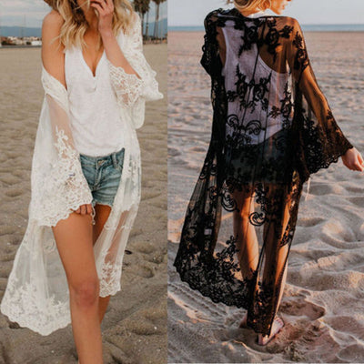 New sexy Women Lace blouse Kimono Bikini Cover Up Cardigan Long Sleeve Sunscreen loose comfortable blouse