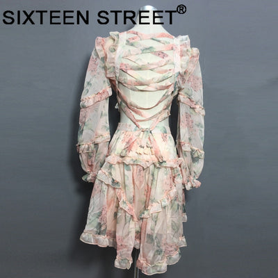 New spaghetti pink Designer Runway Dress Women Hollow Out Ruffles Floral Print Chiffon Mini Dress Sexy Backless Deep V neck