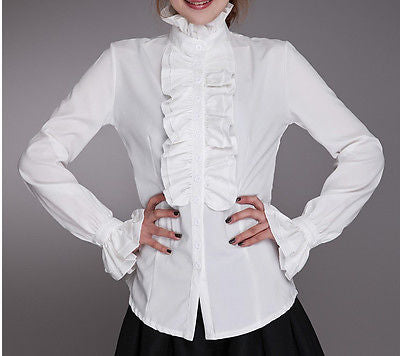 NewNice Women Lady OL Frilly Ruffled shirt Tops Flounce Blouse Formal Shirt