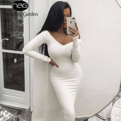 NewAsia Garden Ribbed Winter White Dress Party Bodycon Dress Women Elegant Long Dress Midi Skinny Sexy Dresses Club Wear Vestido