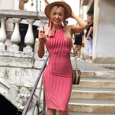 NewAsia Garden Sexy Backless Summer Dress Striped Red Midi Dress Party Bodycon Dress Cotton Skinny Women Dresses Beach Sundress