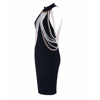 Newest Celebrity Party Bandage Dress Women Sleeveless Off The Shoulder Beading Sexy Night Out Club Backless Dress Women Vestidos