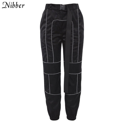 Nibber spring Reflective cargo pants women Casual harem pants hot black Sweatpants ladies wild Belt decoration Active Wear