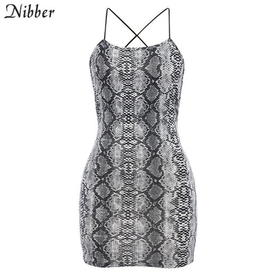 Nibber women Sexy Backless Snake Print Dress Summer Leisure vacation Spaghetti Strap Dress new Women wild Casual Party Dresses