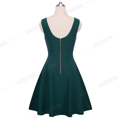 Nice-forever Vintage 1950 Sexy V Neck Backless vestidos Sleeveless A-Line Female Flare Party Women Zipper Summer Dress A087