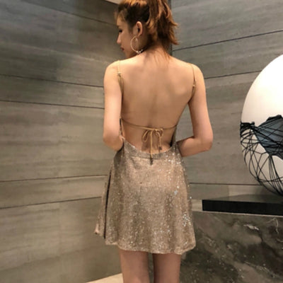 Nightclub Dress Spaghetti Strap Sequin Backless Drawstring Sexy Party Dress Women Mini Summer Dress Vestidos De Fiesta TA7196