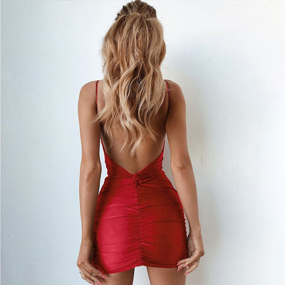Nightclub Tight Slim High Waist All Party Ladies Sling Sexy Backless Sleeveless Women Dress Wrap Deep V Neck