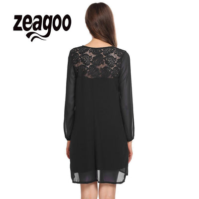 None Lantern V-Neck Women Sleeve Lace Chiffon Patchwork Casual Loose Shift Dress