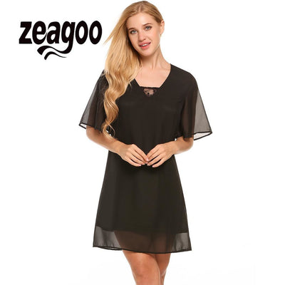 None V-Neck Lace Women Flare Sleeve Solid Casual Loose Fit Shift Dress