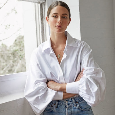 OOTN Long Sleeve White Women Blouse Turn Down Collar Lantern Sleeve OL Ladies Blouse Fashion Casual Office Blouse Femme