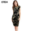 OTEN Women Clothing Sexy Summer Cap Sleeve Leaf Sequined Patchwork Backless party evening elegant dress robe femme moulante 2019