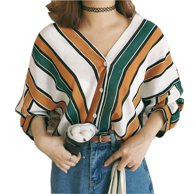 OYDDUP Spring New Fashion Multi-color Striped Shirts Sexy V-neck Bat Sleeve Blouse Casual Loose Beach Button Tops