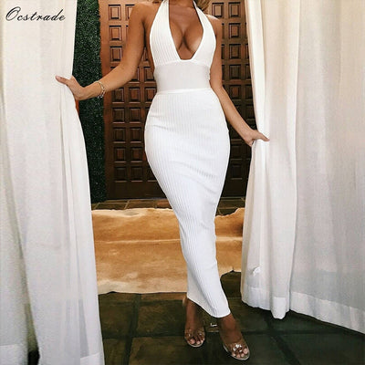 Ocstrade Womens Sexy Bandage Dress Club Wear Summer Backless White Bodycon Dresses Hollow Out Vneck Long Maxi Bandage Dress