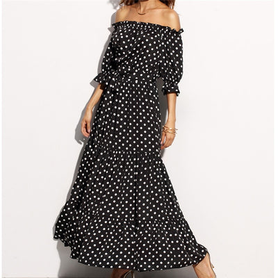 Off Shoulder Bohemian Long Dress Women Polka Dot Strapless Backless Boho Beach Dress Sundress Summer Casual Maxi Dresses