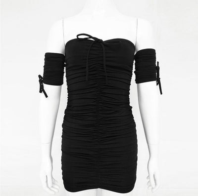 Off Shoulder Strapless Mini Summer Dress Women Short Sleeve Backless Sheath Sexy Bodycon Dress Ladies Casual Dresses