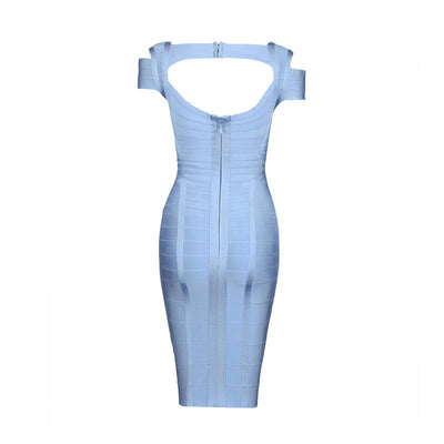 Off Shoulder V Neck Short Sleeve Backless knee Length Sexy Women Party Bodycon Rayon Bandage Dress