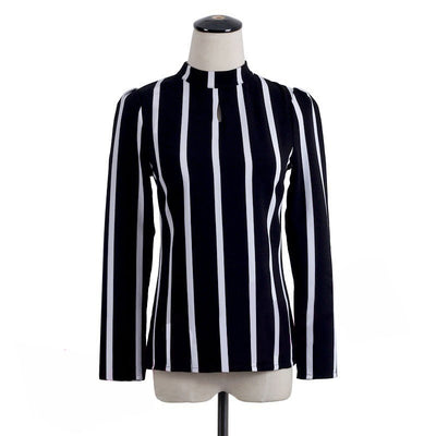 Office Lady Shirts Korean Style Women Hollow Out Long Sleeve Striped Chiffon Blouse Blusas