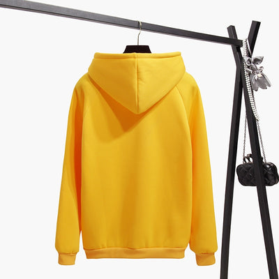 Oh Yes Letter Print Harajuku Casual Coat Women Winter Fleece Hooded Pullover Thick Loose Women Hoodies Sweatshirt 8L1040