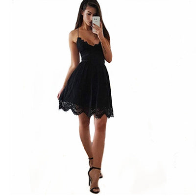 Oufisun Sexy Solid Lace Backless Mini Dress New Casual V-neck Women Summer Dresses Black Short Dress For Ladies Vestido