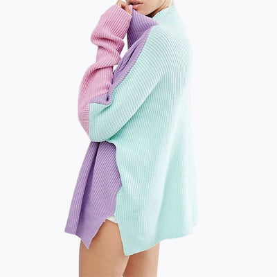 Oversized Rainbow Sweater Stitching Colors Loose Long Sleeve Women Pullover