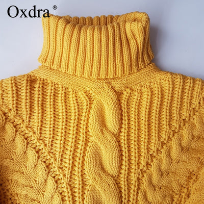 Oxdra Sweaters Women Autumn Winter Female Turtleneck Casual Loose Ladies Knitted Jumpers Pullovers Women Clothing