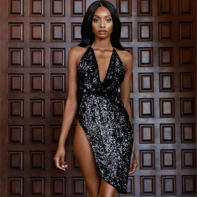 POFASH Halter Backless Mini Dress Women Fashion Sequin Sexy Slim Summer Dress Sexy Lady Vintage Club Deep V Short Dresses