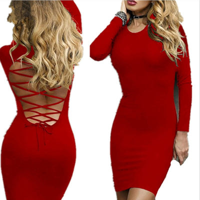 Party Sexy Backless Dress Women New Bandage Dress O-neck Solid Long Sleeve Skinny Office Lady Black Dress Club Femme M0599