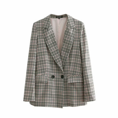 Plaid Blazers and Jackets Suit Ladies Long Sleeve Work Wear Blazer Plus Size Casual Female Outerwear Wear Work Coat