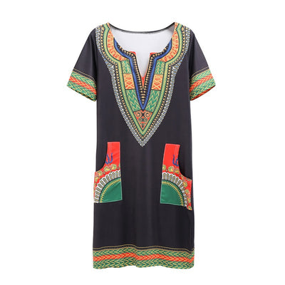Plus Size Vintage Hippie Dress Tribal Print Boho Clothing Dashiki Vintage Mini hippie Plus Size Print Dresses Vestido