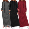 Plus Size Hooded Long Sleeve Fleece Split Long Sweatshirt Dress Winter Women Casual Loose Hoodies Pullover Vestido