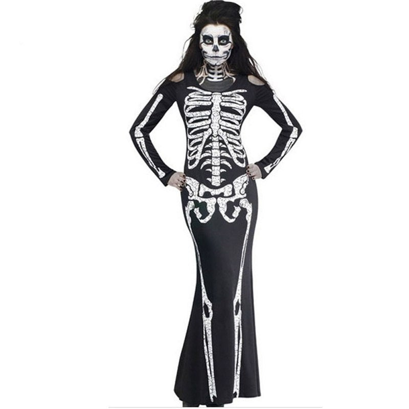 Plus Size 2XL Halloween Dress Skeleton Print Scary Horror Costumes Play New  Ghost Clothes Strech Party Cosplay Long Dress F2