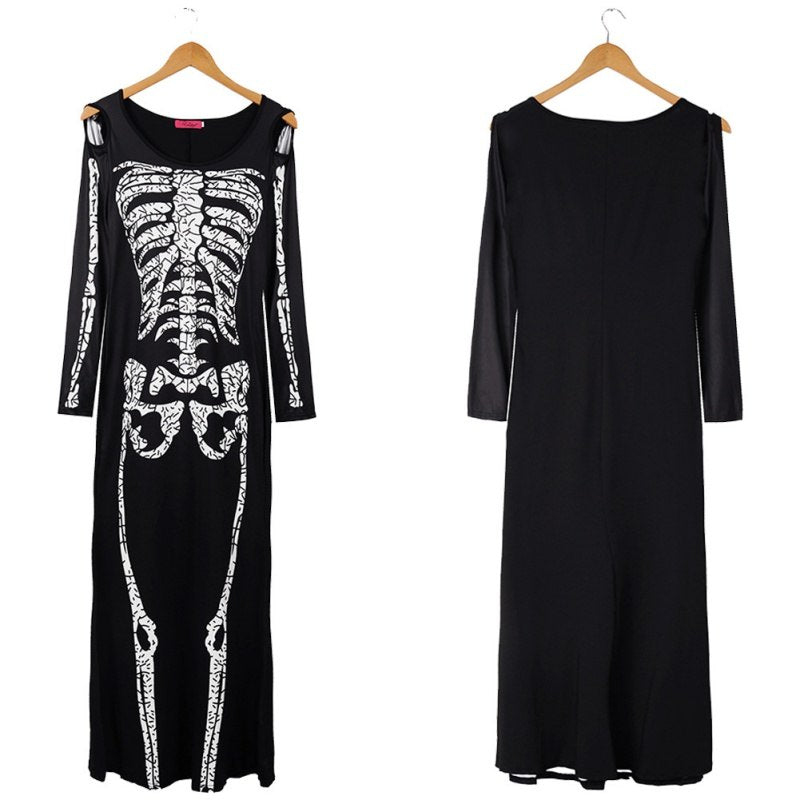 Plus Size 2XL Halloween Dress Skeleton Print Scary Horror Costumes Play New  Ghost Clothes Strech Party Cosplay Long Dress F1