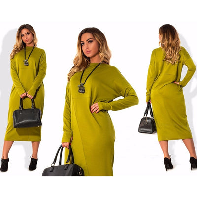 Plus Size 4XL 5XL 6XL women clothing long sleeve autumn Elegant Loose Large size o neck green midi dress vestidos femininos